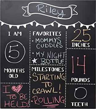 Amazon.com: JennyGems – Cartel de pizarra para bebé, con ...