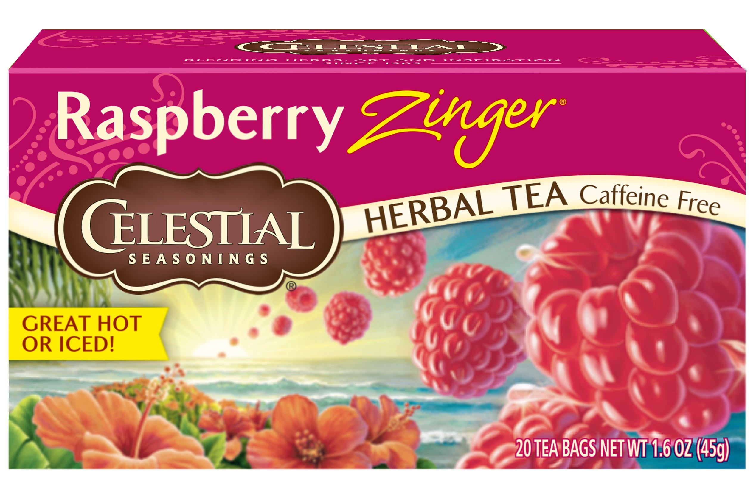 Celestial Seasonings Herbal Tea, Raspberry Zinger, 20 Count (Pack of 6)