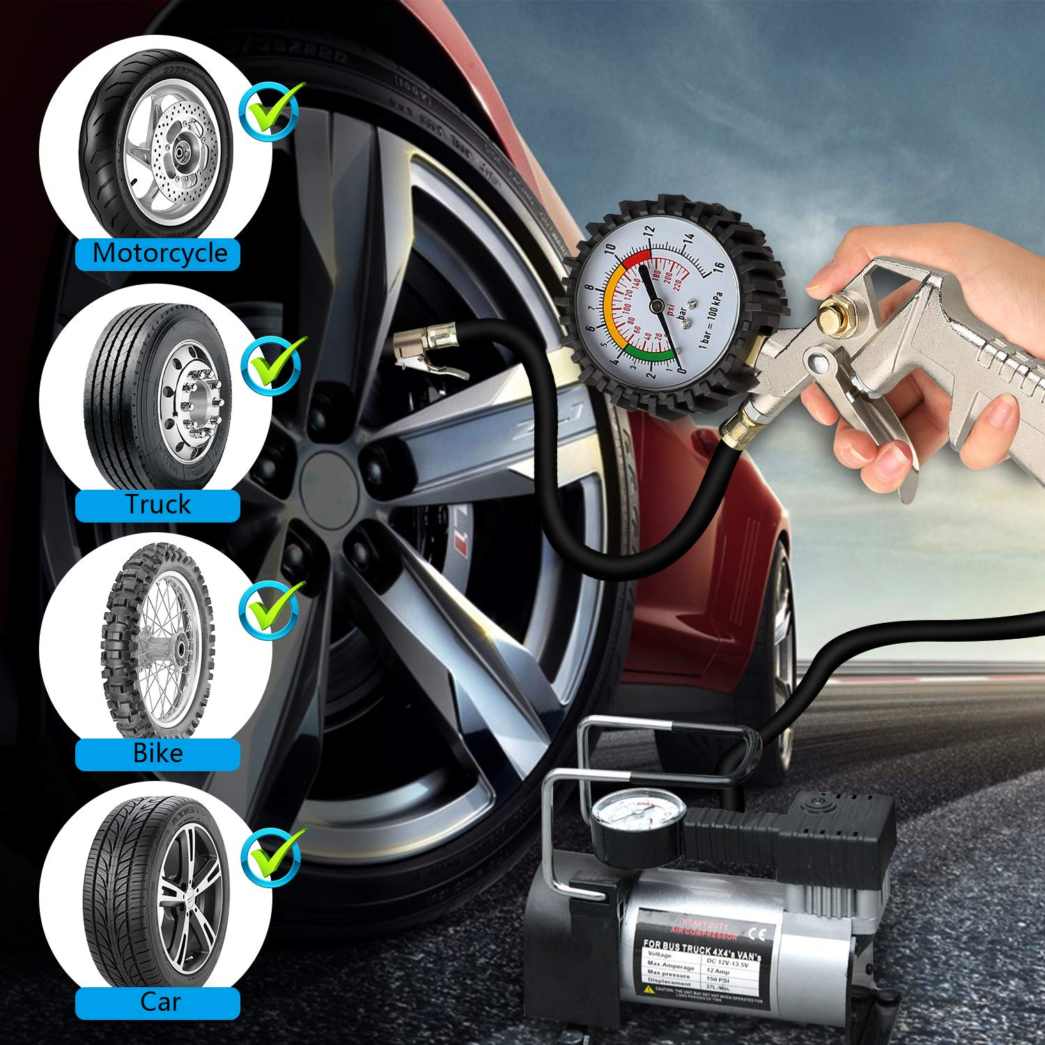 Automotive Air Tyre Gauge Heavy Duty Car/& Motorycle/& Bicycles with Presta and Schrader Valve Linkstyle Tyre Inflator with Pressure Gauge 220 PSI Tire Pressure Gauge