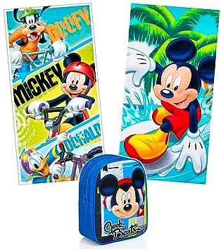 KingMungo Mickey Mouse Disney 2 Pieza Toalla 70 x 140 Set + Mochila para Niños –