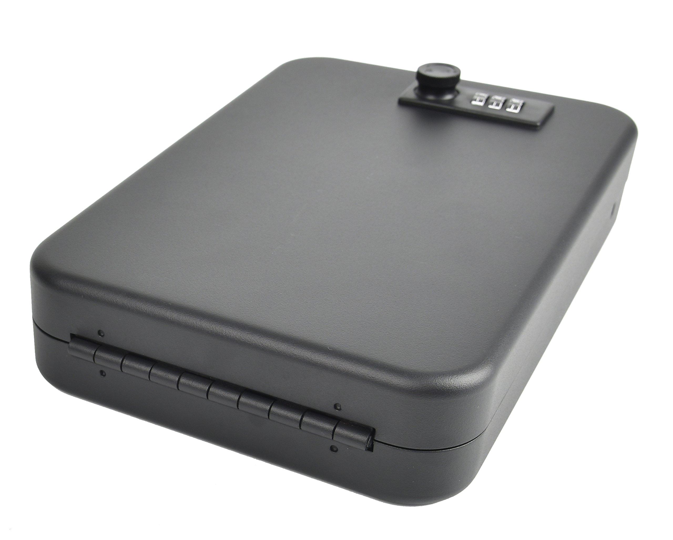 GOJOOASIS Pistol Case Digits Combination Lock Box Portable Handgun Safe Storage Steel