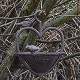 Woodside - Vogeltränke zum Aufhängen im Garten - Herzform aus Gusseisen - Vintage-Design