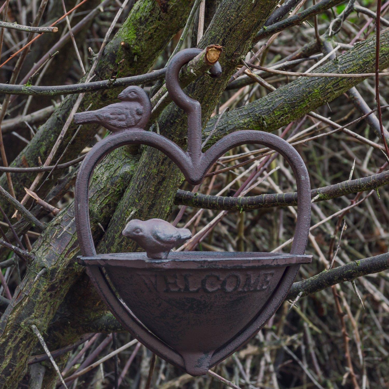Woodside - Mangeoire à oiseaux en forme de coeur - style vintage - à suspendre dans le jardin - en fonte