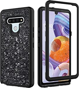 Alasheng for LG Stylo 6 Case, LG Stylo 6 Case with Black Sparkly Clear Soft TPU Phone Case for Girls Women - Black