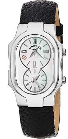 314a16ce9 Image Unavailable. Image not available for. Color: Philip Stein Signature  Ladies Black Leather Strap Dual Time Watch ...