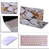"""HDE White and Gold Marble MacBook Air 13"""" Case Hard Shell Cover + Silicone Keyboard Skin with Wireless Optical Mouse - Fits Model A1369 / A1466"""