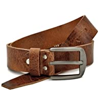 Fa.Volmer Marrón Vintage Cinturón De Cuero Búfalo, 40 mm De Ancho y aprox. 3-4 mm De Grueso, Puede Acortarse #Gbr00020