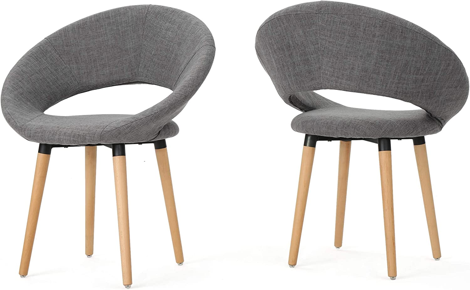 Christopher Knight Home Keegan Fabric Modern Dining Chairs, 2-Pcs Set, Light Grey
