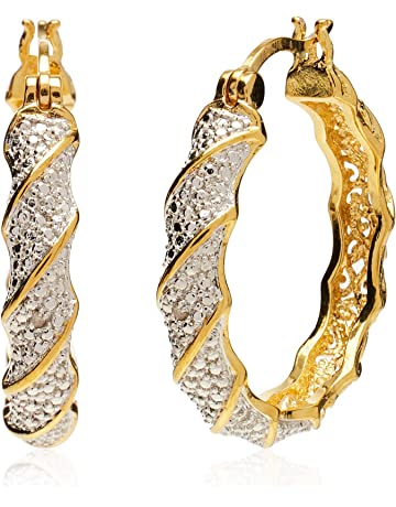 625e48b00 Plated Bronze Diamond Accent Twisted Hoop Earrings