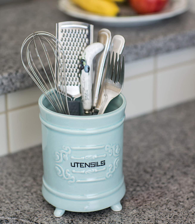 Amazon.com - French Blue Ceramic Utensil Holder - Vintage Style ...