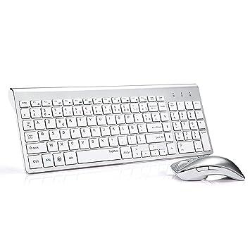 Topmate KM9001 - Conjunto de teclado y ratón inalámbricos para ordenador de sobremesa y ordenador portátil, teclado AZERTY, color blanco plateado ...