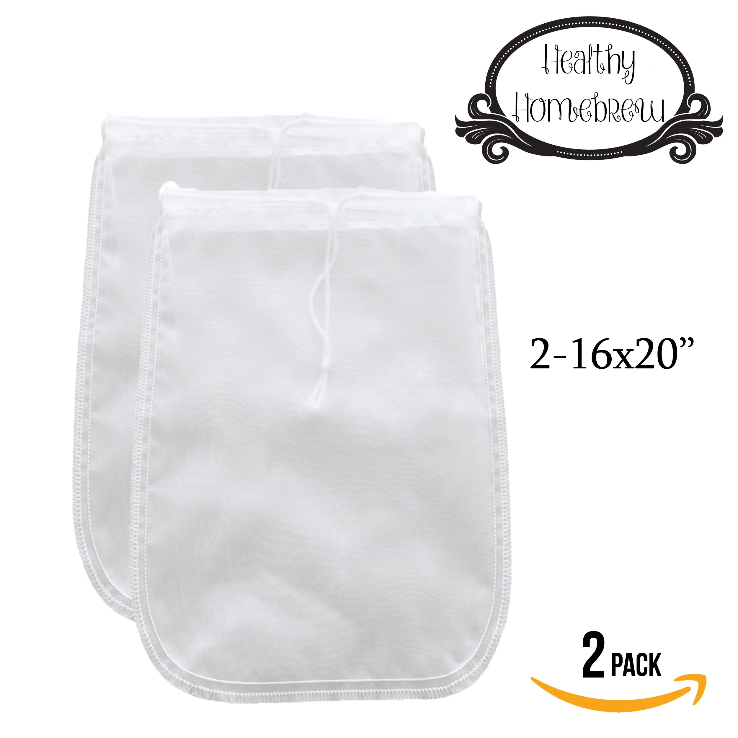 Mesh Strainer Bags for Almond, Cashew Nut Milks, Cold Brew Coffee, Homemade Greek Yogurt, Juicing, Home brewing – Reusable Extra Fine Nylon Extraction Sack (2 Pack - 16x20'' - XL)