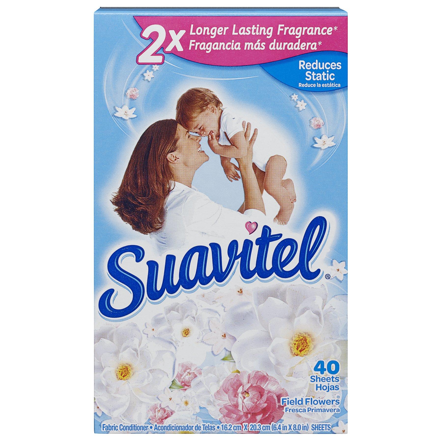 Suavitel Fabric Softener Dryer Sheets, Field Flowers, 40 Count