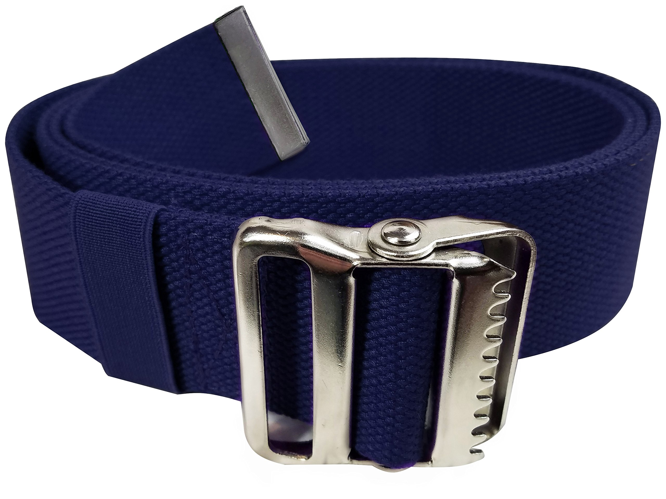 LiftAid Walking Gait Belt and Patient Transfer with Metal Buckle and Belt Loop Holder for Nurse, Caregiver, Physical Therapist (Navy Blue, 60'')
