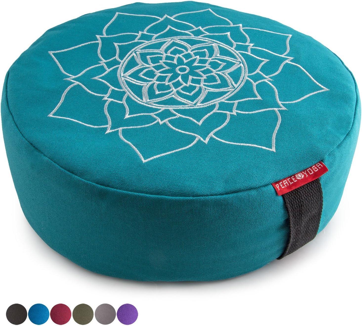 平和ヨガZafu瞑想ヨガBuckwheat Filledコットン枕枕クッションwithプレミアムDesigns – Choose yourデザイン&サイズ Mandala Turquoise 13\