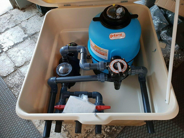 Desconocido Caseta semienterrada para Piscina con Filtro de 500mm y Bomba de 1 HP. Piscinas.