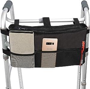 Walker Bag Hand Free Storage Bag Walker Attachment Handicap Basket Pouch for Rollator, Wheelchair, Folding Walkers (Black-Style 2)