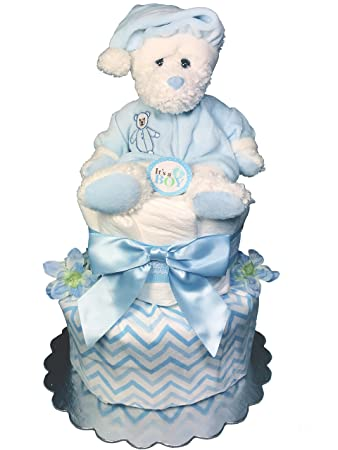 Amazon Teddy Bear 2 Tier Diaper Cake For A Boy Baby Shower