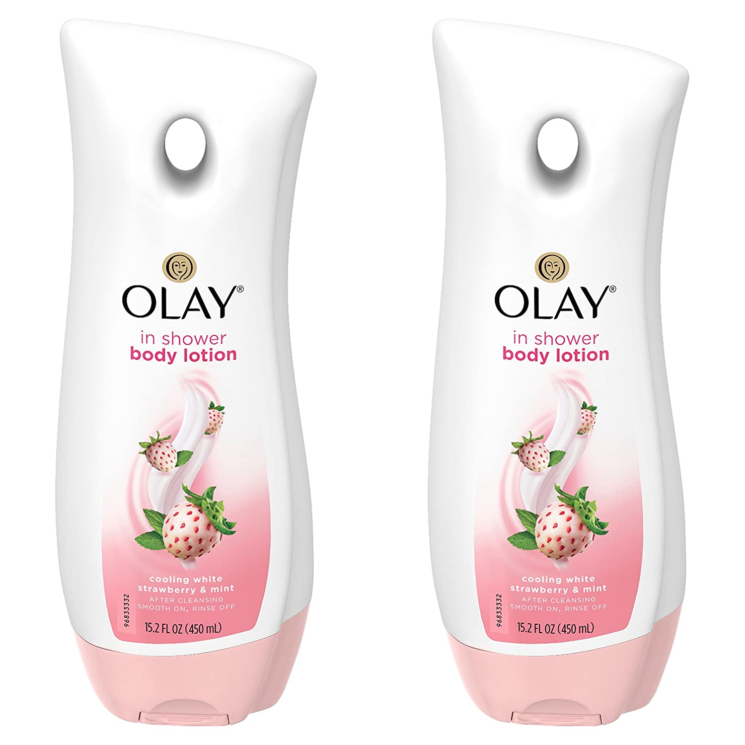 Olay Cooling White Strawberry and Mint In-Shower Body Lotion, 15.2 oz (Pack of 4)