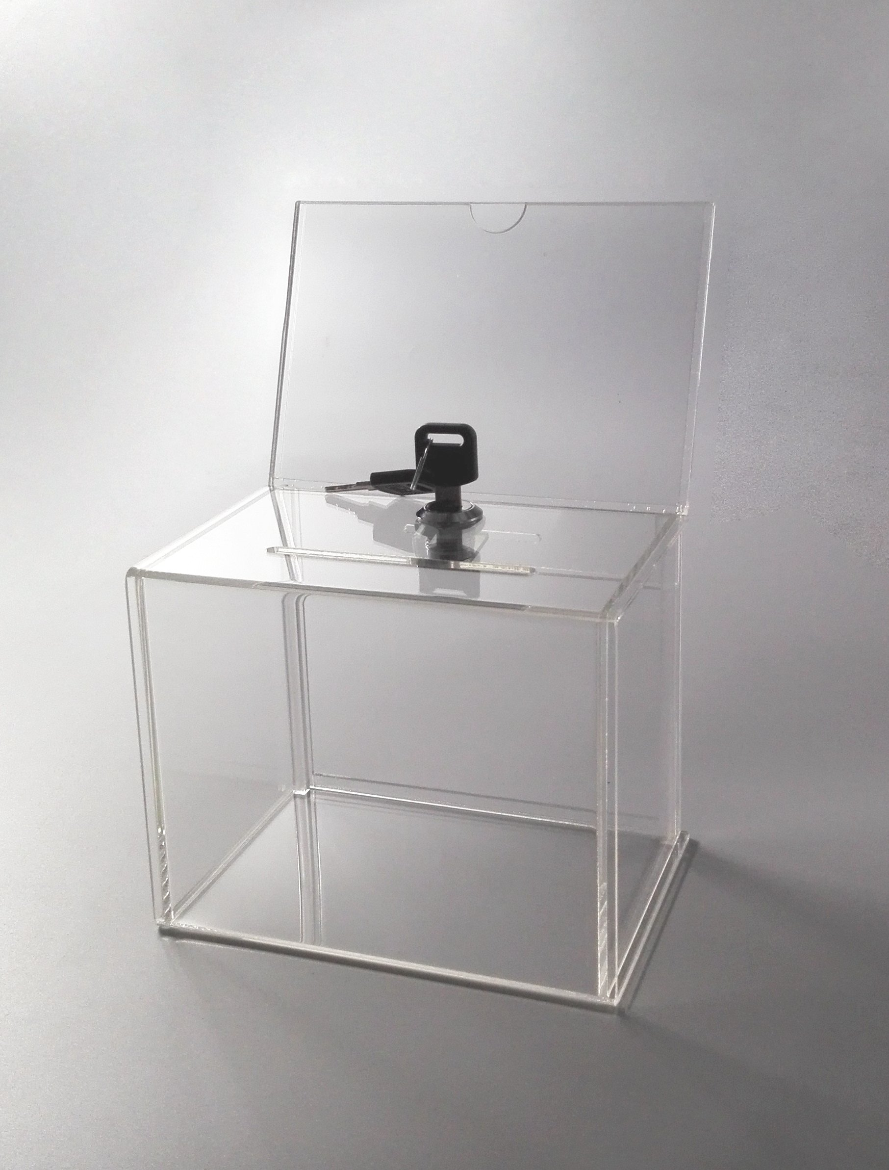 FixtureDisplays 6.1'' x 8.3'' x 4.4'' Acrylic Ballot Box w/6 x 4 Header & Lock - Clear 19216 19216