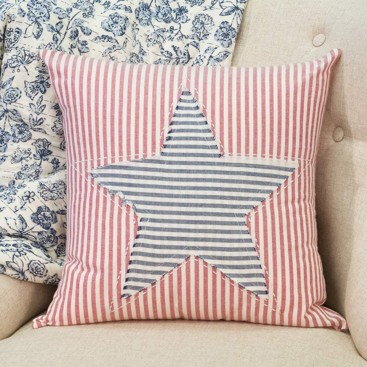 Piper Classics Stitched Star Ticking Stripe Pillow Cover, 18 x 18 , Red, White Blue, Patriotic Star, Country Farmhouse Americana D cor