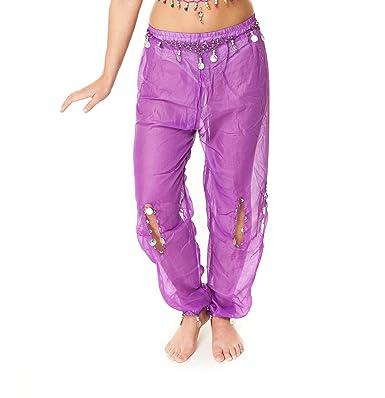 Costume Danse Orientale haut pantalon Sarouel TAILLE UNIQUE danse du ventre  (Violet avec paillettes argentées