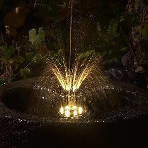 Viugreum 3.0w Solar Fountain Pump, Led Warm Light, 2021 Latest Upgraded Bird Bath Fountain, with 1600 mAh Solar Battery and 8 Nozzles, Swimming Pool,Bird Bath, Fish Tank, Garden,Pond