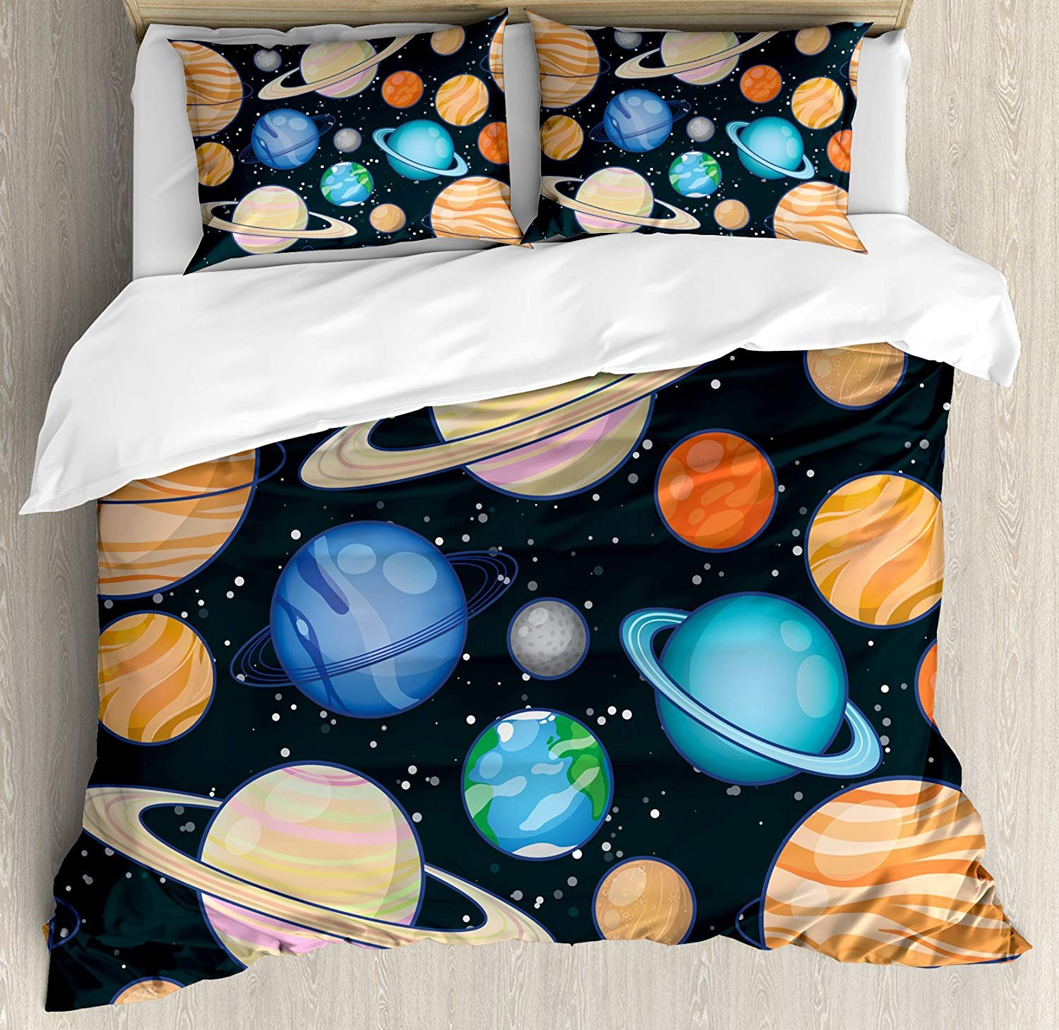 VCFUN Family Comfort Bed Sheet Galaxy Cute Galaxy Space Art Solar System Planets Mars Mercury Uranus Jupiter Venus Kids, 4 Piece Bedding Sets Duvet Cover Oversized Bedspread, Twin Size