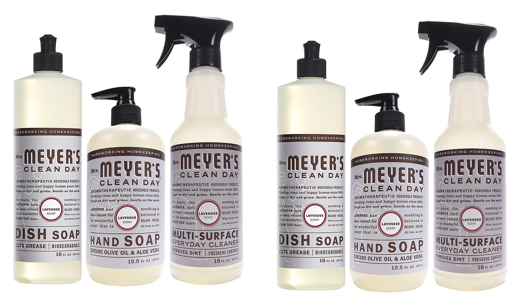 Mrs. Meyers Clean Day Kitchen Basics 6 Count Set, Lavender Scent, Dish Soap (16 fl oz), Hand Soap (12.5 fl oz), Multi-Surface Everyday Cleaner (16 fl oz) by Mrs. Meyer's Clean Day