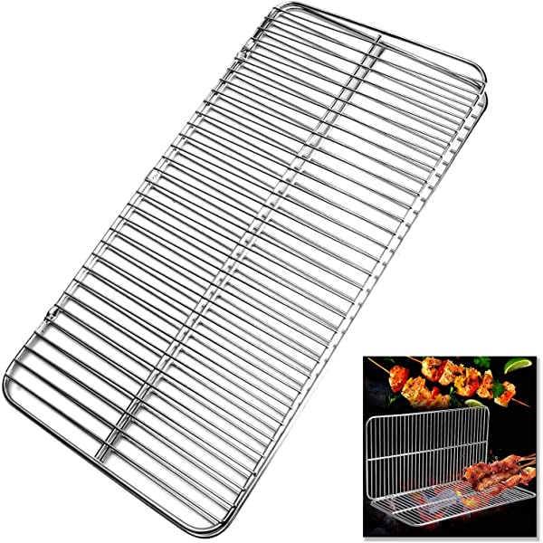 TOBWOLF Folding Camping Grill Squared Portable Stainless Steel Barbecue Rack Durable Backyard Grill Mesh Cooking Grid Campfire Grill Shelf for Outdoor Hiking Backpacking Picnic Garden Beach