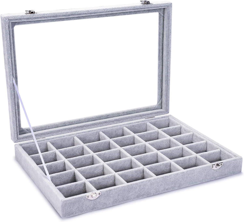 Pasutewel Velvet 24 Grid Jewelry Tray Box Removable Display Case Organizer Glass Top Lid