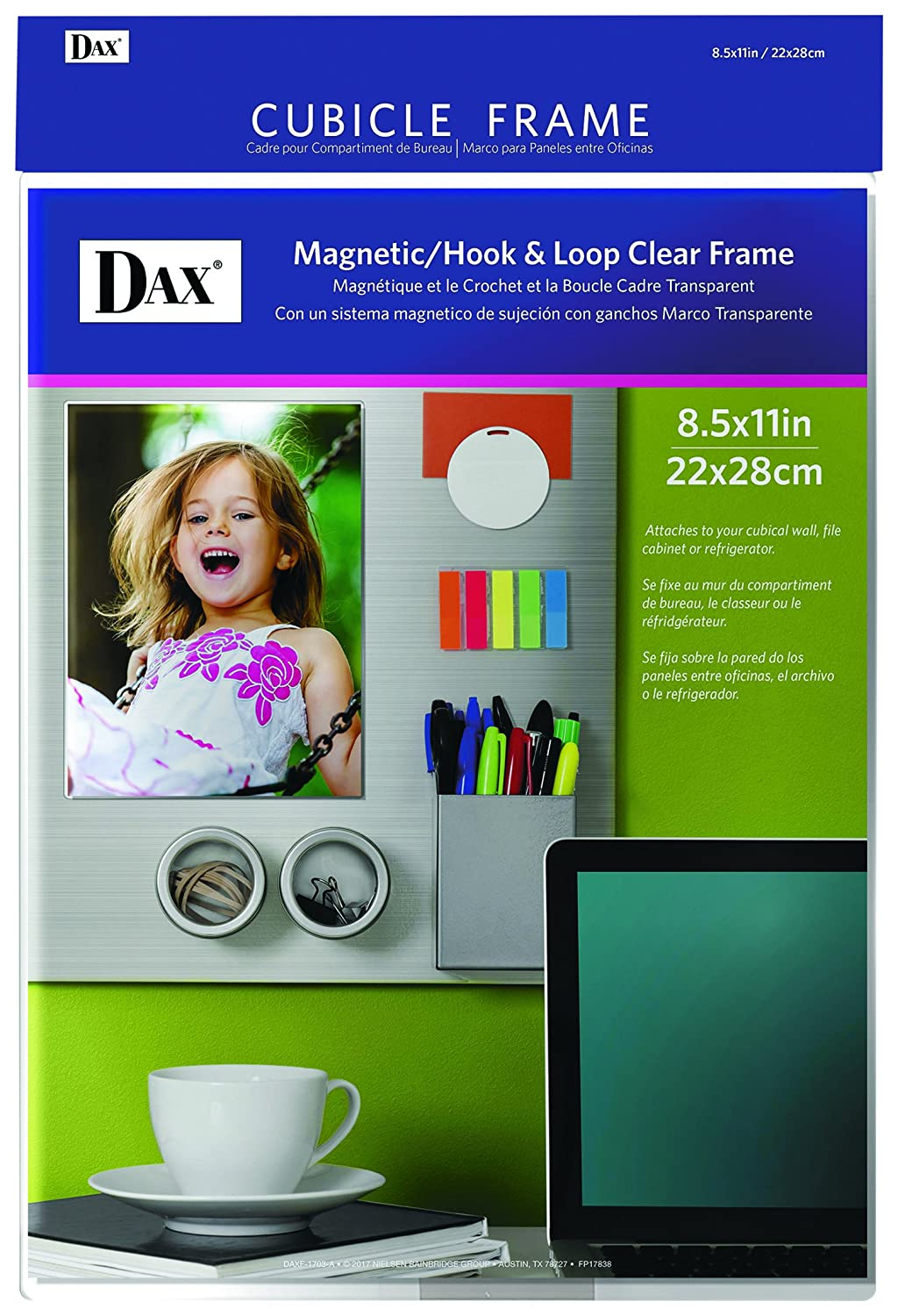 DAX N140285M Velcro Magnetic Cubicle Photo Document Frame, Acrylic, 8-1/2 x 11 Inches, Clear