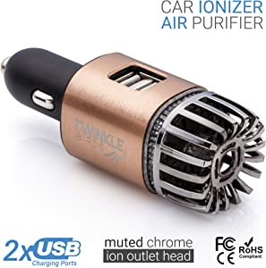TWINKLE BIRDS Car Air Purifier Ionizer - 12V Plug-in Ionic Anti-Microbial Car Deodorizer with Dual USB Charger - Smoke Smell, Pet and Food Odors, Allergens, Viruses Eliminator for Car (Matte Copper)