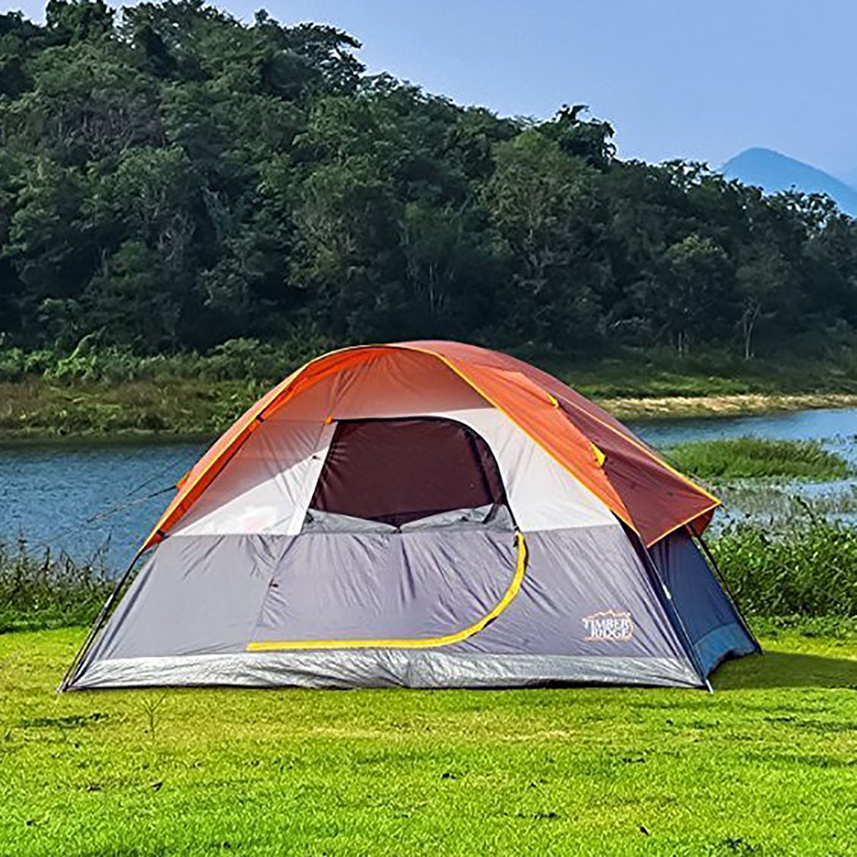Timber Ridge 6 Person Dome D Door Tent Camping Traveling Family Tent Portable Rain Fly with Carry Bag