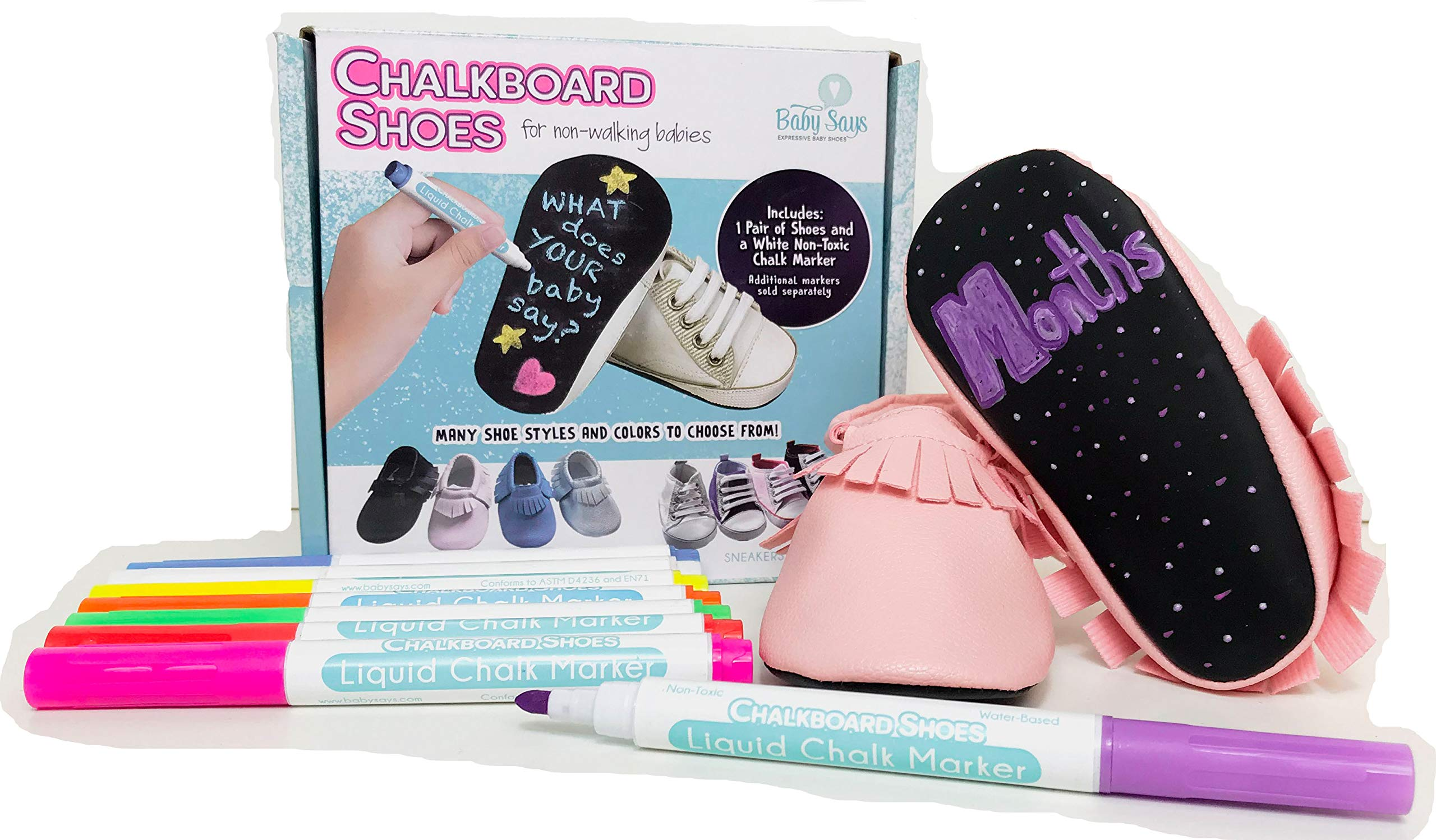 New Baby Says Chalkboard Shoes Moccasins (6-9 Months, Pink) by Baby Says