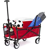YSC Wagon Garden Folding Utility Shopping Cart,Beach Red (Red)