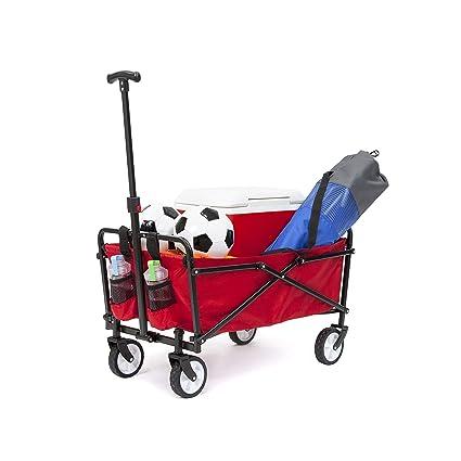 YSC Wagon Garden Folding Utility Shopping Cart,Beach Red (Red)