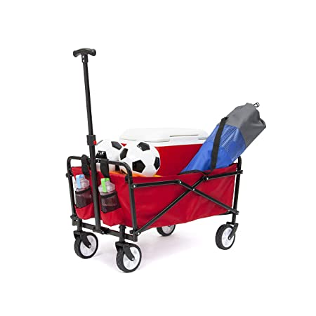 YSC Wagon Garden Folding Utility Shopping Cart,Beach Red Red