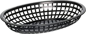 Winco Oval Fast Food Baskets, 10.25-Inch by 6.75-Inch by 2-Inch, Black