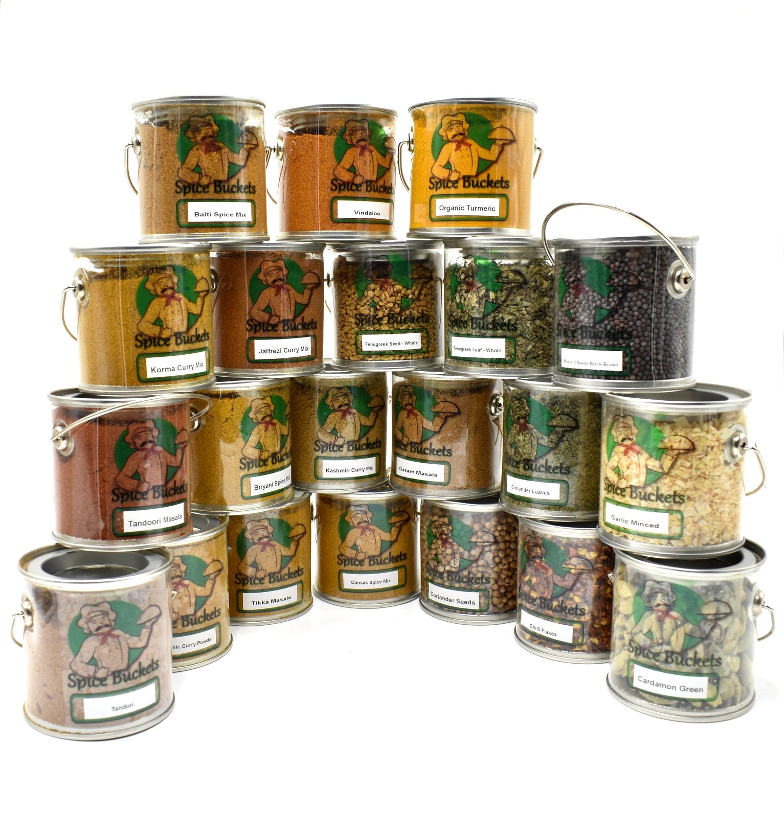 Ultimate 21 Piece Indian Cooking Spices Kit in Spice Rack Buckets