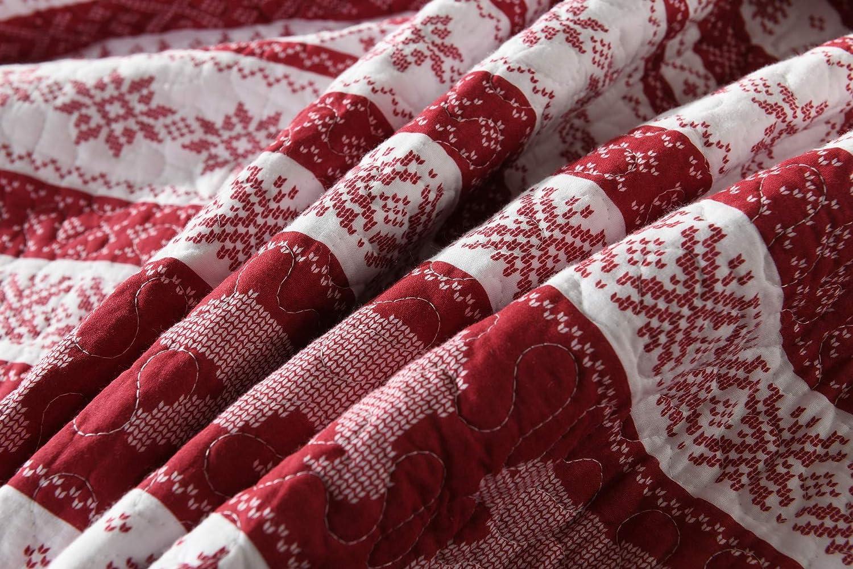 Christmas Comforter Bedding Wilderness Bear 3pc 100/% Cotton Bedspread Quilt Set and Pillow Sham Queen Size