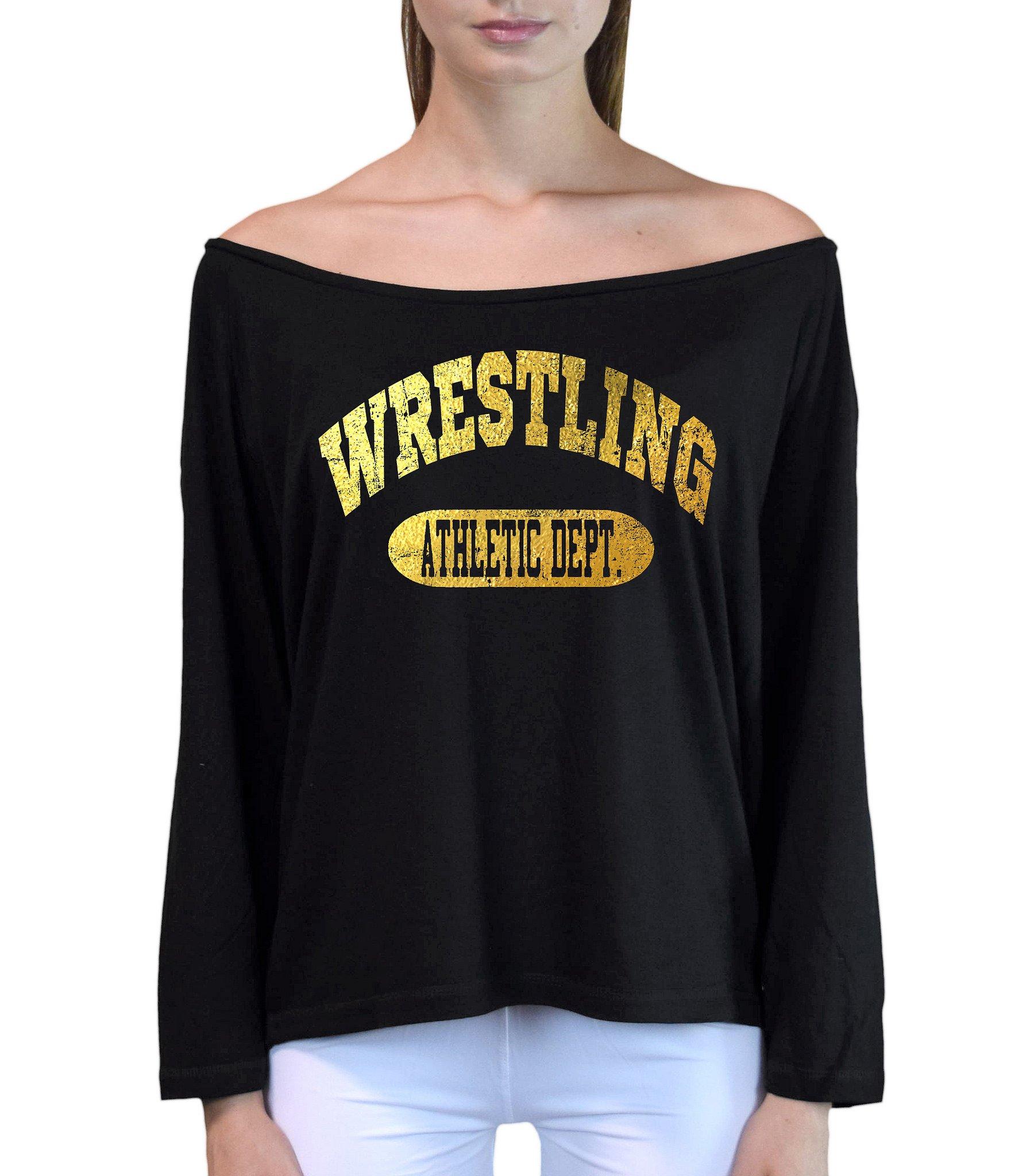 Interstate Apparel Inc Junior's Gold Foil Wrestling Athletic Dept. Black Off-Shoulder Long Sleeve T-Shirt L/XL Black