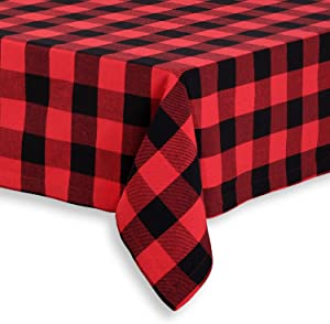 Cackleberry Home Red and Black Buffalo Check Woven Fabric Tablecloth, 60 x 120 Rectangular
