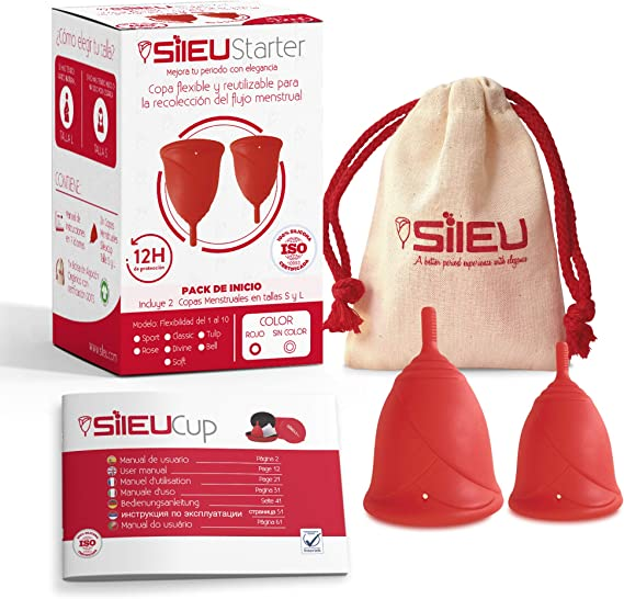 Sileu Starter - Copa menstrual Sileu Rose - Pack de 2 Unidades - Talla S + L, Rojo, Flexibilidad Standard