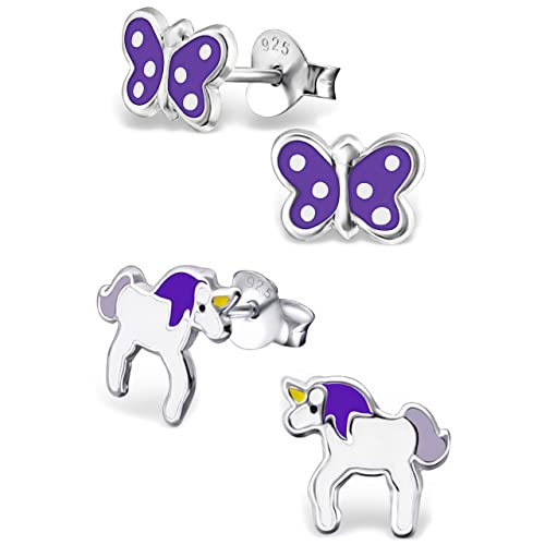 a3d0dd8c7bd Image Unavailable. Image not available for. Color  925 Sterling Silver  Hypoallergenic Set of 2 Pairs Purple ...
