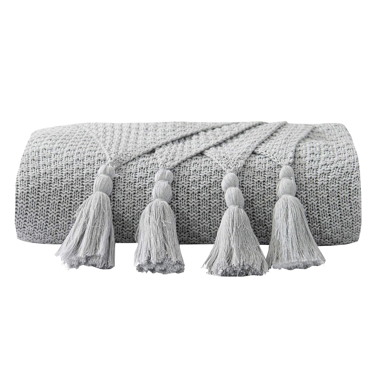 DOMIKING 100% Cotton Knitted Throws and Blankets for Sofa Couch Bed Multiple Used Special Tassels Blanket Lightweight Grey Throw Four-Season Use,51''x67'' ... by DOMIKING
