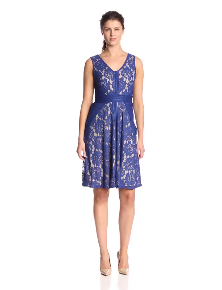Julian Taylor Women's Sleeveless V Neck Lace Dress, Royal/Nude, 10