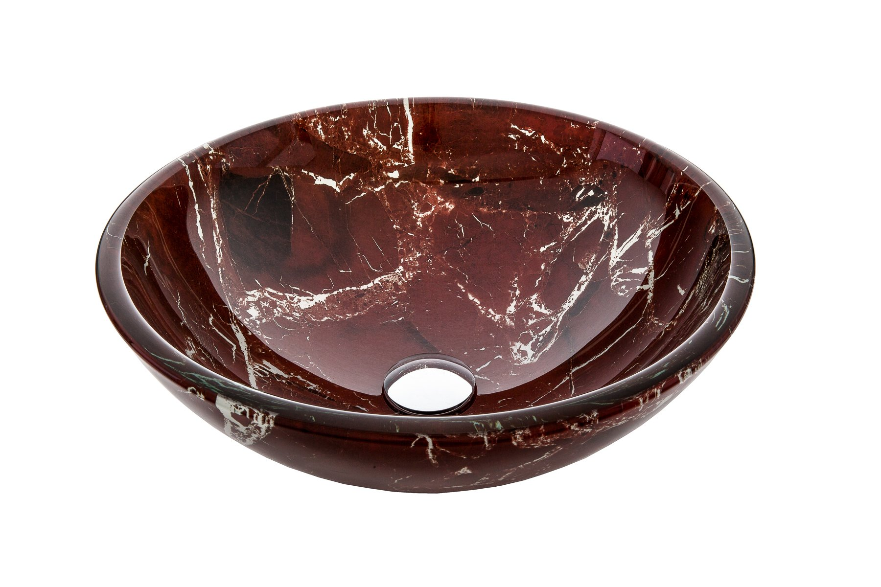 Jano JGV17 Burgundy Marble Tempered Glass Vessel Bathroom Sink With Pop-up Drain