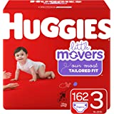 Huggies Little Movers Baby Diapers, Size 3, 162 Ct, One Month Supply, Packaging May Vary