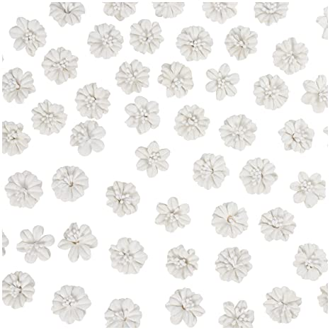 White 1 x 1 x 0.4 Inches Decorative Craft Flowers 100-Pack Flower Embellishment DIY Applique Artificial Flower Head for Scrapbooking Table Scatter Wedding Party Decoration Double Layer